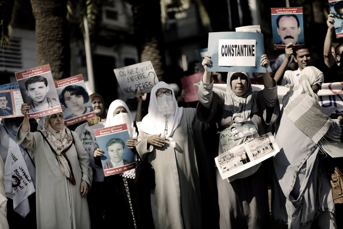 Families of victims of enforced disappearance in Algeria hold peaceful protests once a week in Algiers. (Christian Als)
