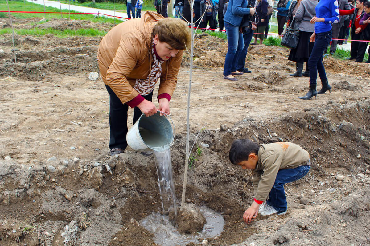 The wife of a missing person and her grandson water a tree planted in memory of their missing husband and great-grandfather. (Icrc/H.Galstyan)