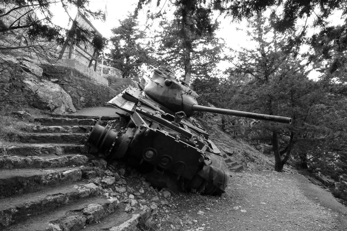 Turkish tank from the 1974 Invasion in the Kyrenian Mountains, Cyprus
