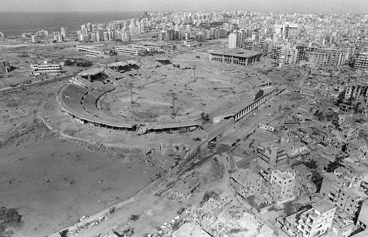 An aerial view of the stadium used as an ammunition supply site for the Palestine Liberation Organization during confrontation with the Israeli.