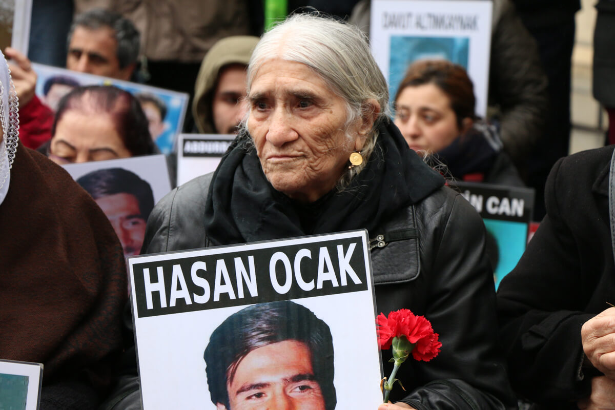 Hasan Ocak's mother Emine Ocak during Saturday Mothers' 678th sit-in at Galatasaray Square, Istanbul. March 24, 2018.